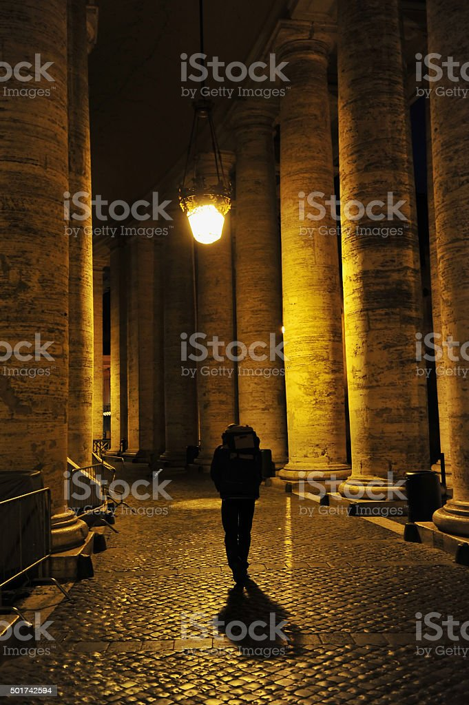 Man Walking Alone in Rome, Italy stock photo