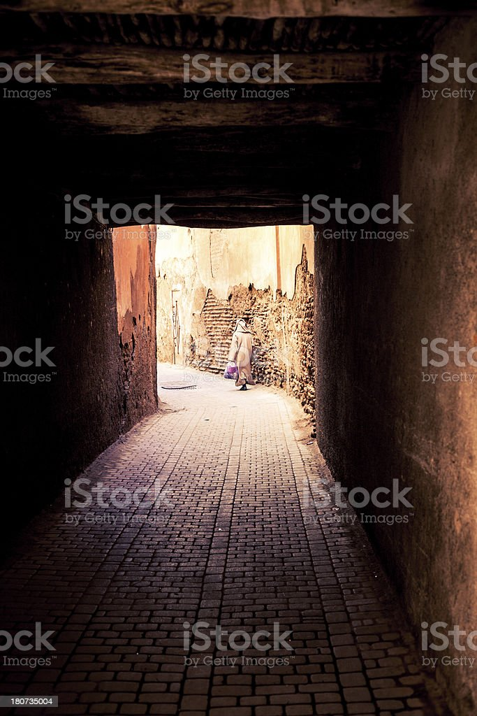Man Walking along Old Streets, Medina of Rabat, Morocco royalty-free stock photo