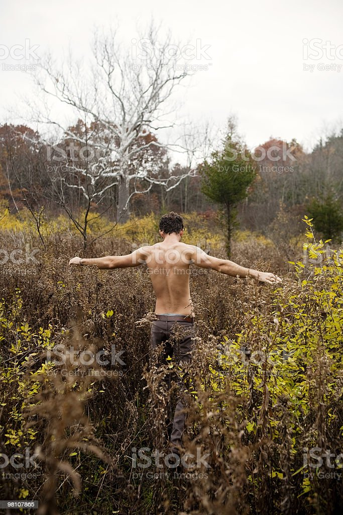 Man walking away from camera royalty-free stock photo