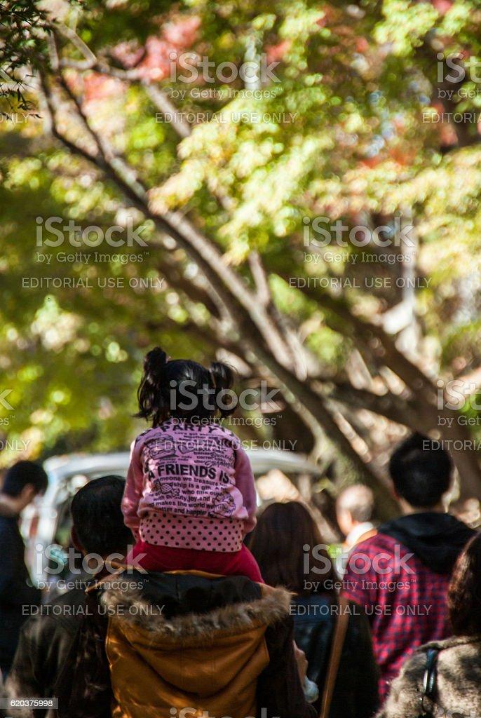 Man walking carrying a little girl on his shoulders foto de stock royalty-free
