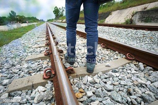man walking follow railway concept go forward to the target