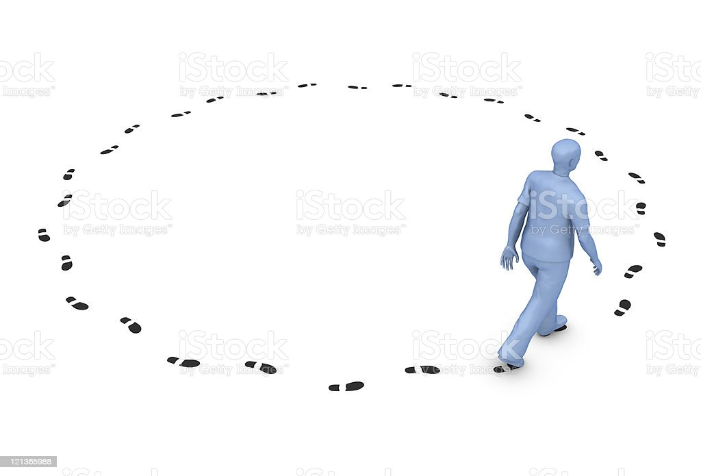 Man Walking in a Circle stock photo