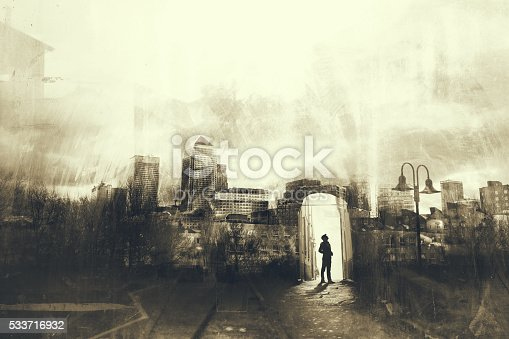 istock Man walking in a mystic dark city 533716932