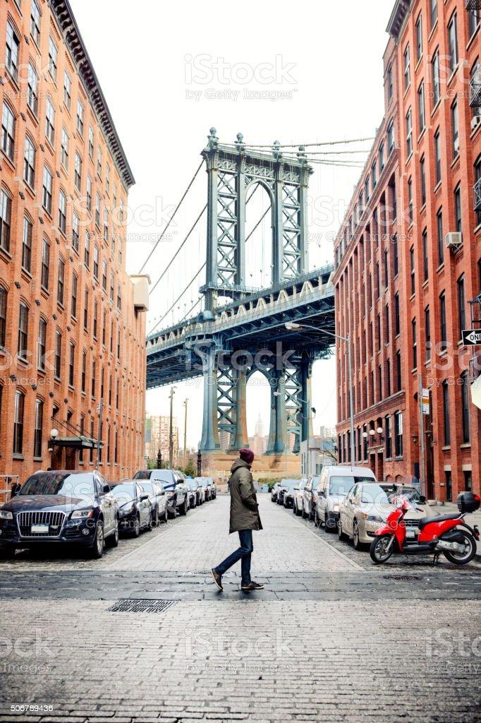 Man walking in Brooklyn stock photo