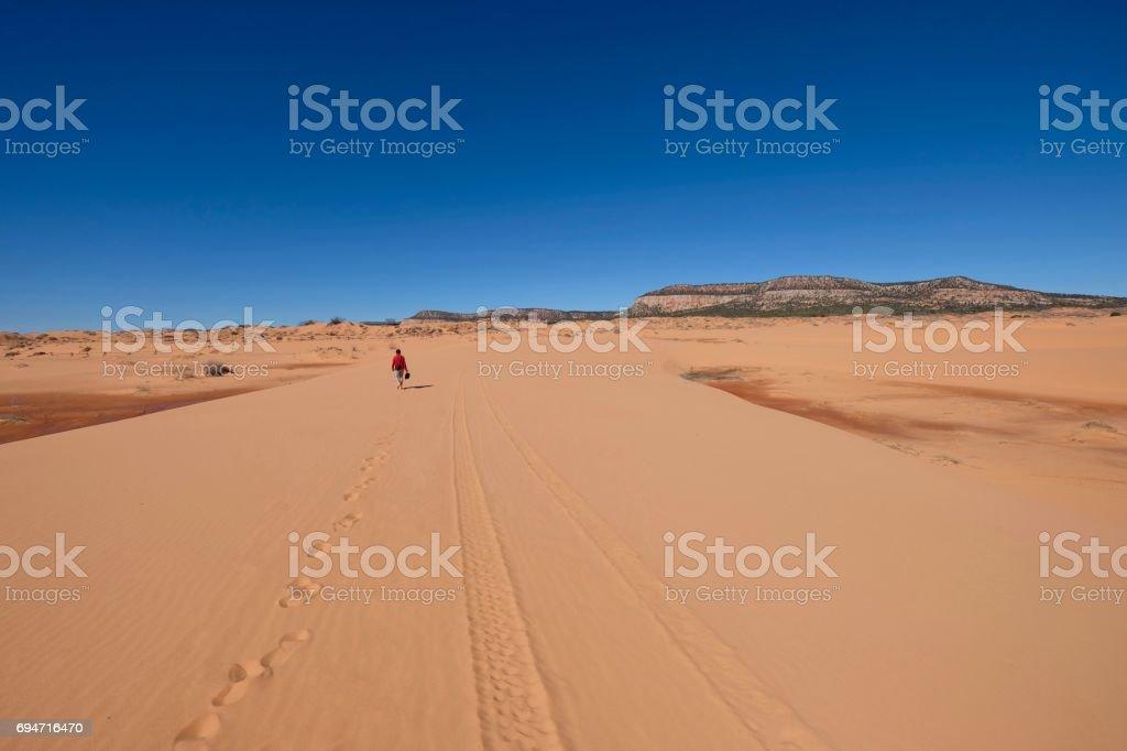 Man walking  in desert. stock photo