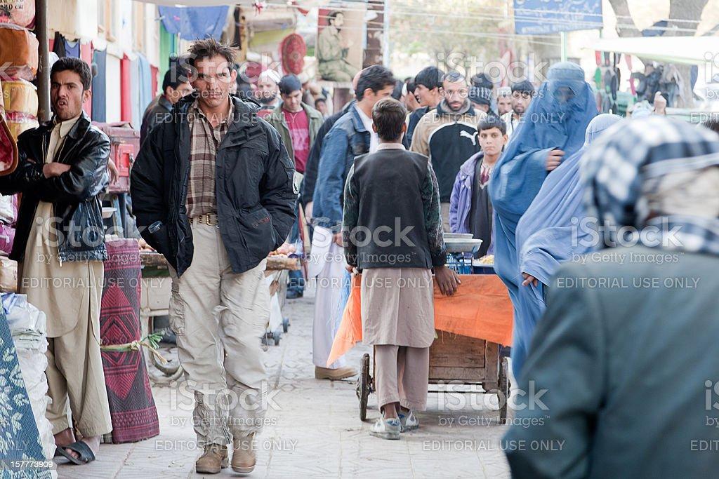 Man walking in downtown Kabul stock photo