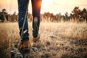 istock Man walking in nature 1185203969