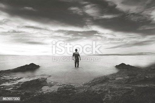 man walking in the water