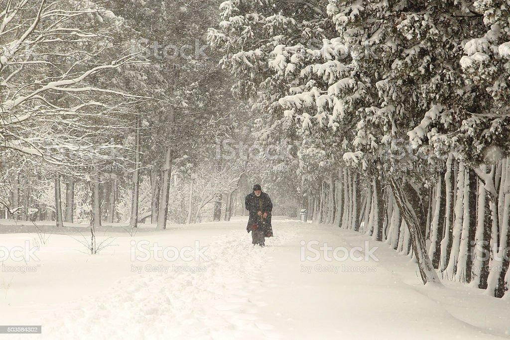 man walking in winter stock photo