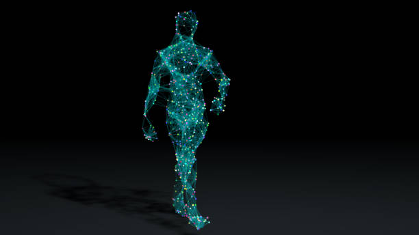 Man walking in wireframe drawing with data stock photo