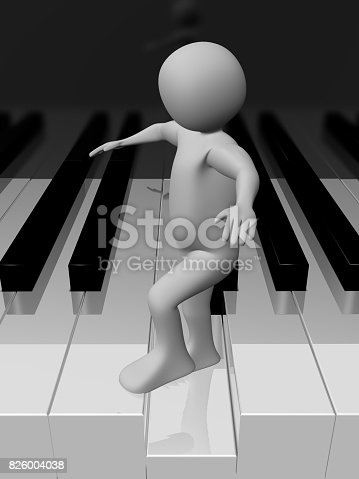 Man walking on the piano keys to play music