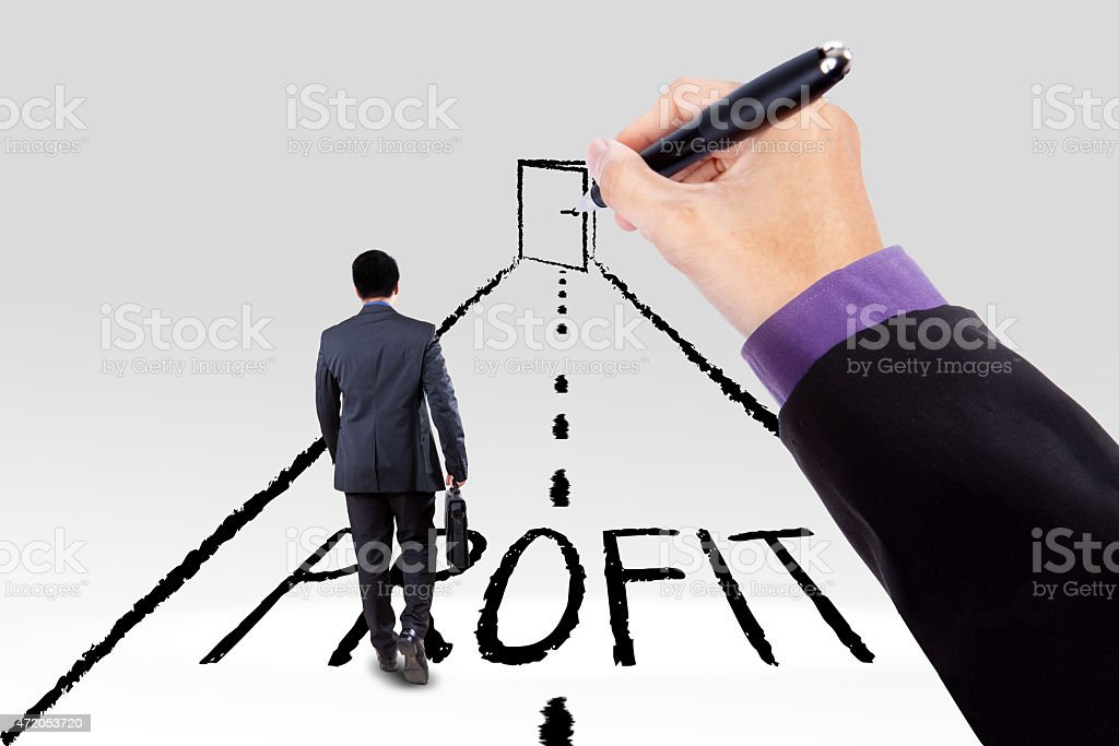 Businessman walking on the road with a profit text toward a door on...