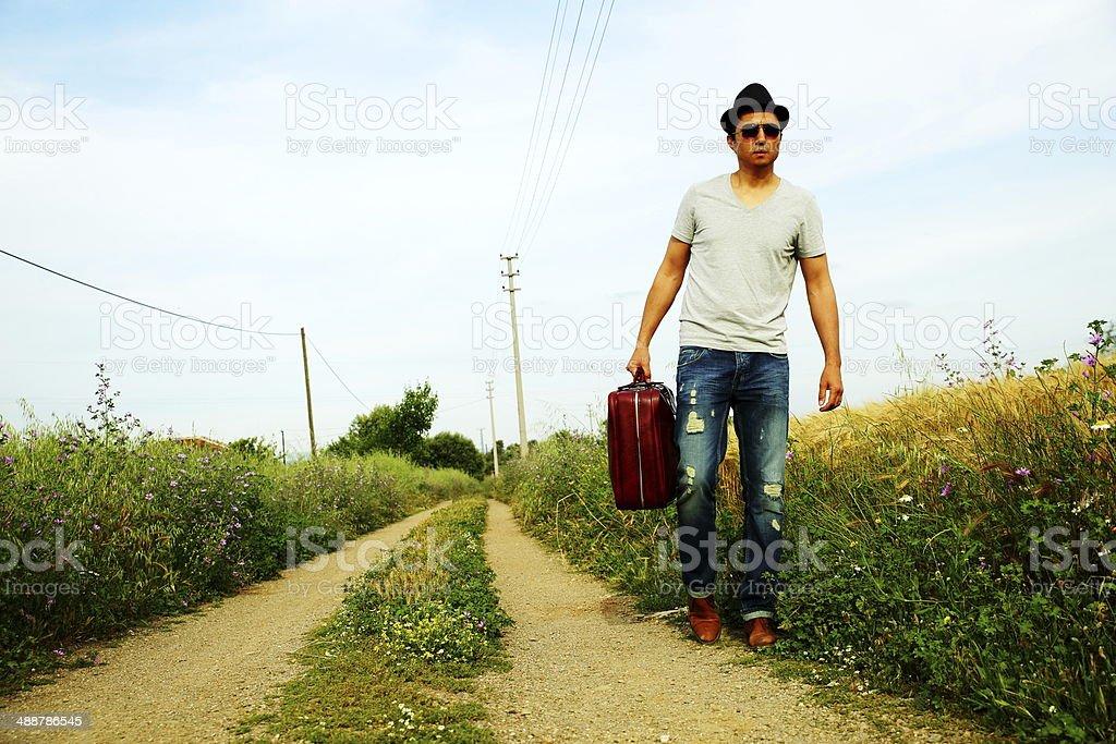 man walking royalty-free stock photo