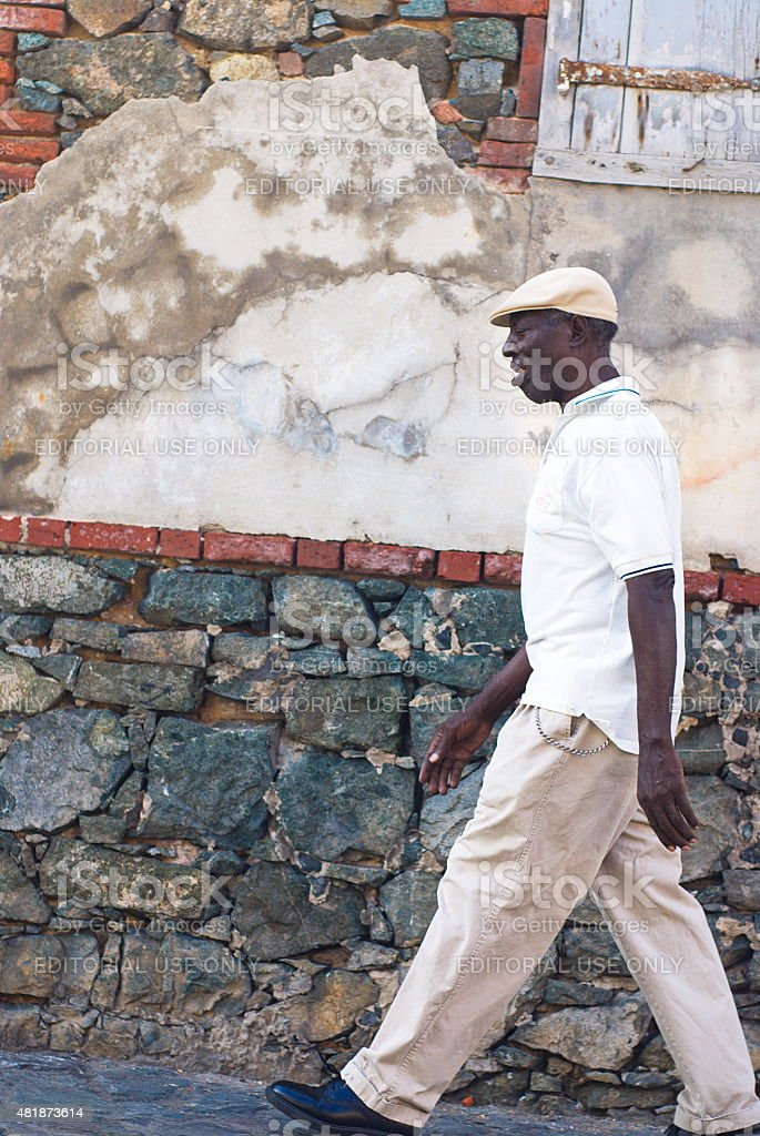 Man Walking St. Thomas, USVI stock photo