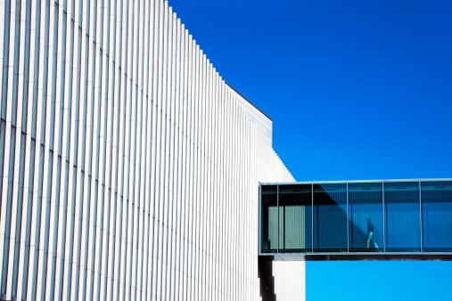 Man Walking Through Skywalk in Futuristic Building