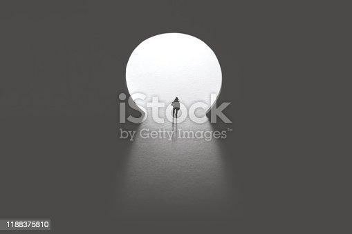 man walking toward keyhole light door, photography key concept