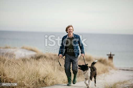 istock Man walking with his dog 540207106