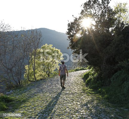 istock Man walks along cobblestone path in the hills 1018492880