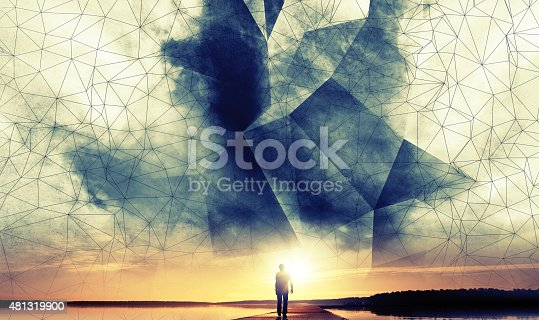 istock Man walks to the sun under digital 3d wire-frame sky 481319900