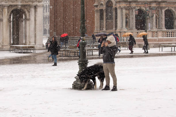 Man walks with a dog in a snowy St Mark's Square at Venice stock photo