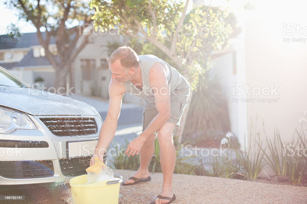 Man washing car royalty-free stock photo
