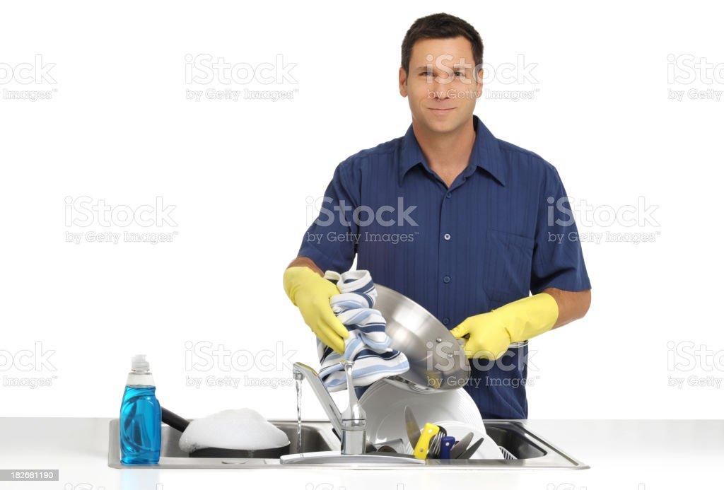 Man Washing Dishes Isolated on White Background royalty-free stock photo