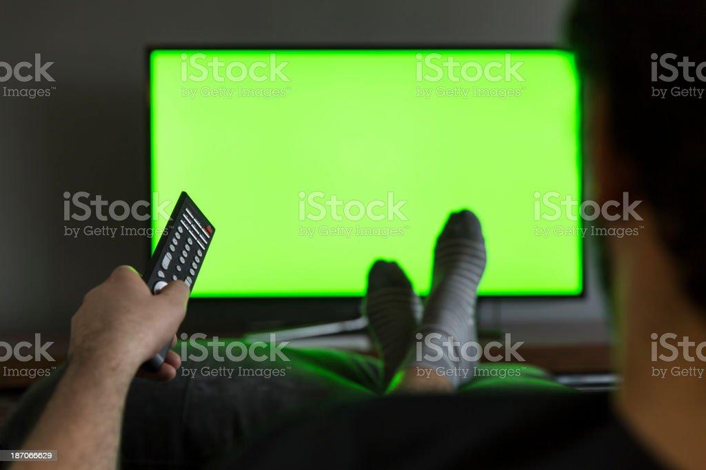 Man Watching Lcd Tv stock photo