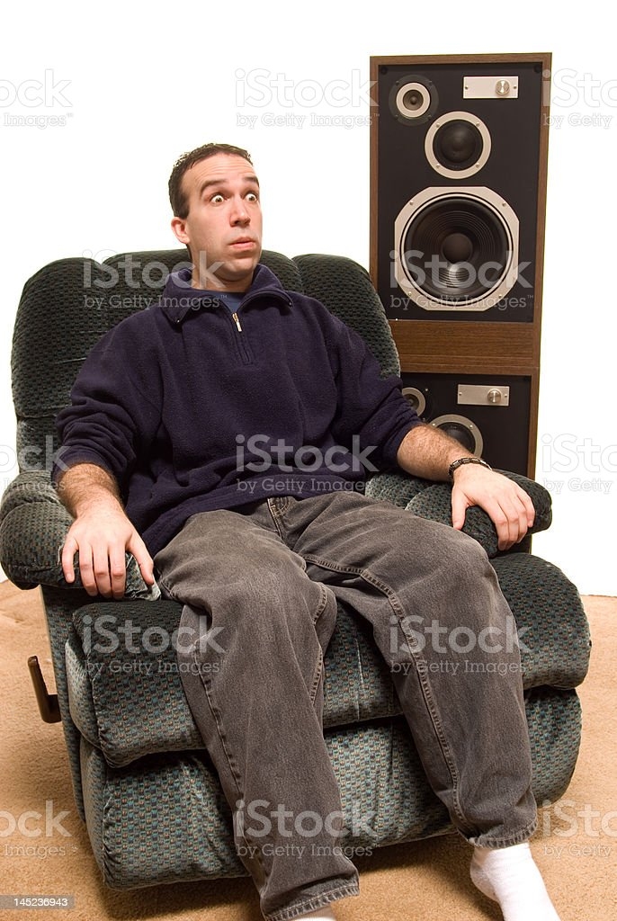 Man Watching Scary Movie royalty-free stock photo