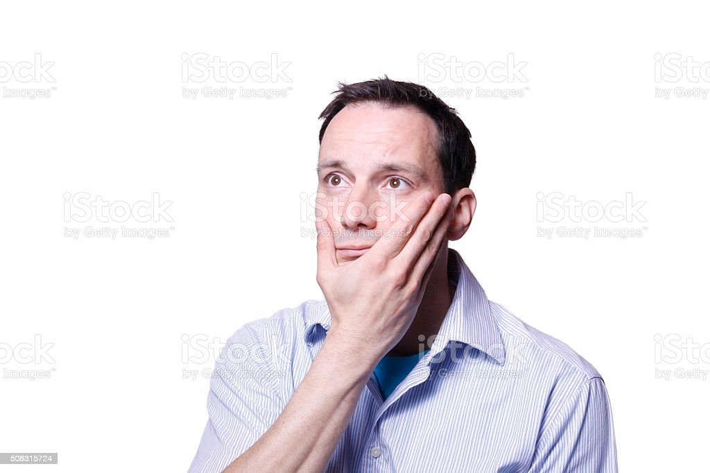 man watching sports anxious frustrated sad stock photo