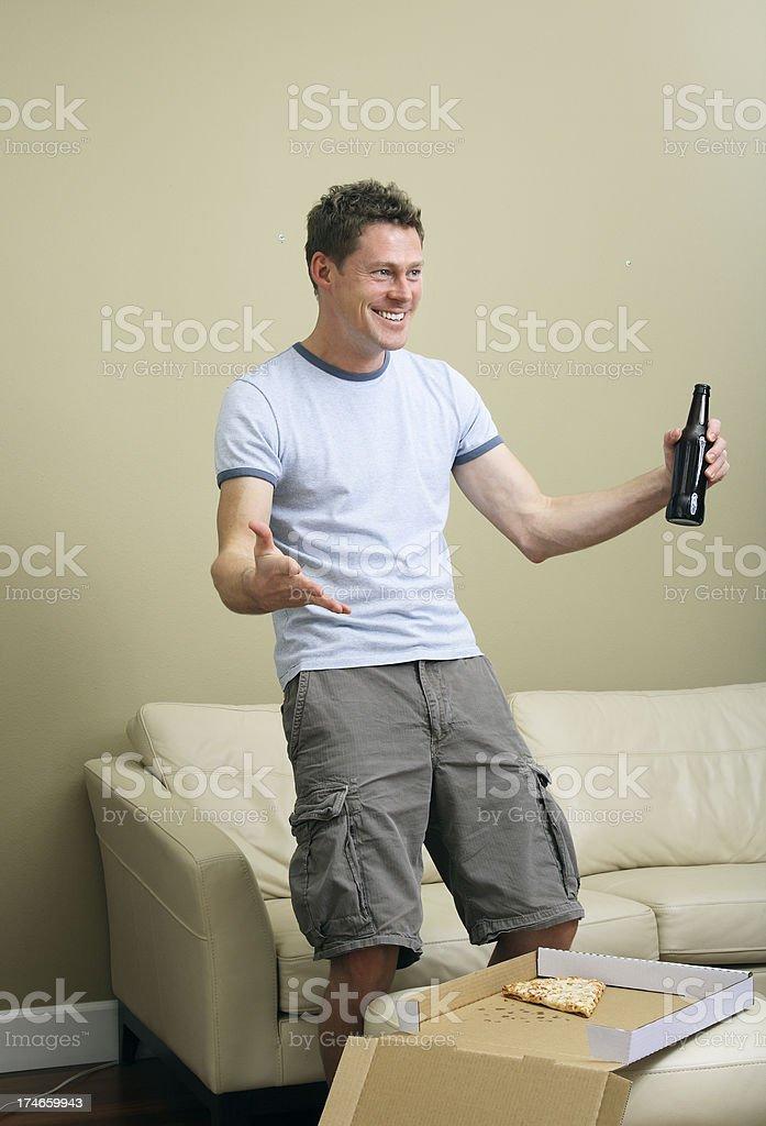 Man Watching Sports on TV royalty-free stock photo
