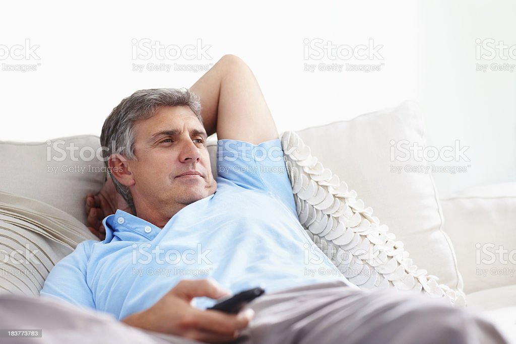 Man watching television royalty-free stock photo
