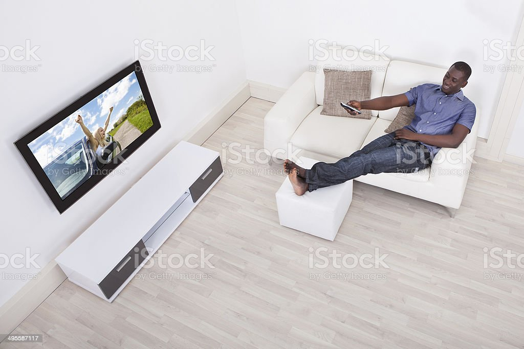 Man Watching Television stock photo
