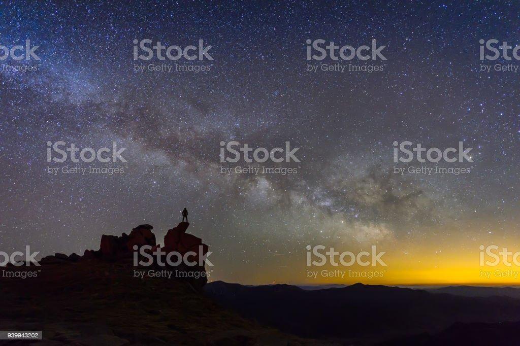 Mann beobachtet die Milchstraße – Foto
