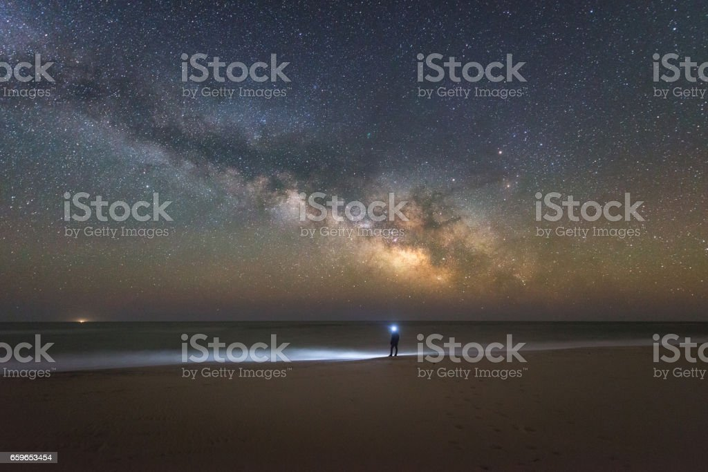 Man watching the milky way rise over the beach stock photo