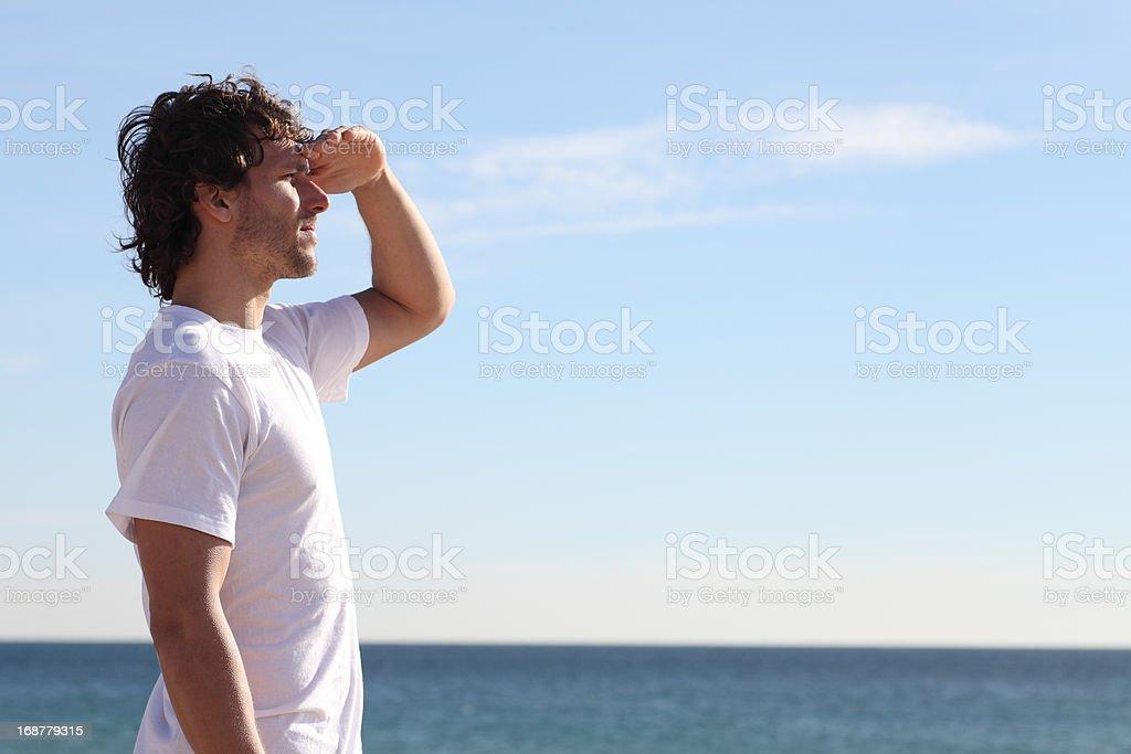 Man watching the sea royalty-free stock photo