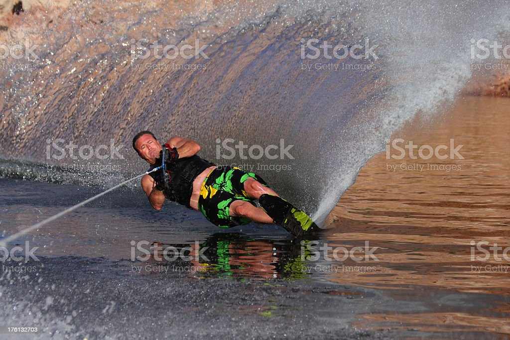 Man Water Skiing With Spray stock photo