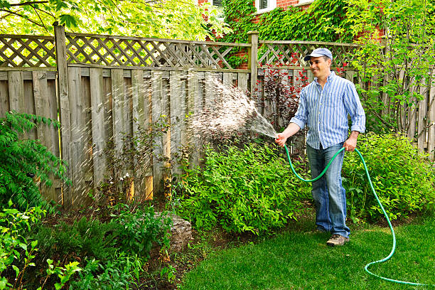 man watering garden - watering stock pictures, royalty-free photos & images