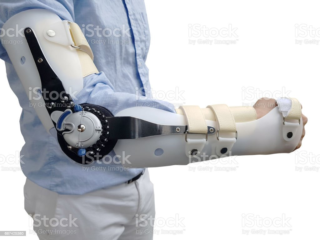 man wear brace for broken arm on white backgrounds, isolated stock photo