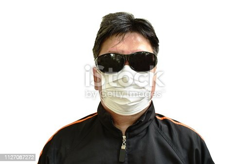 Asian man wear sun glass and hygienic mask for protected pollution in white background