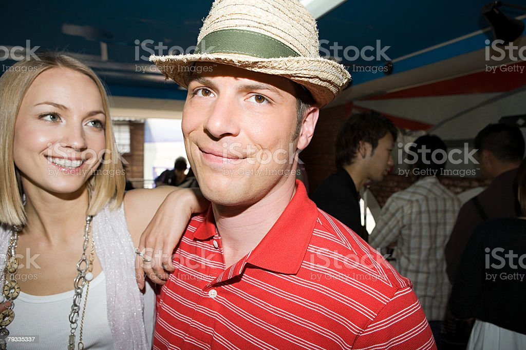 Man wearing a straw hat with girlfriend 免版稅 stock photo