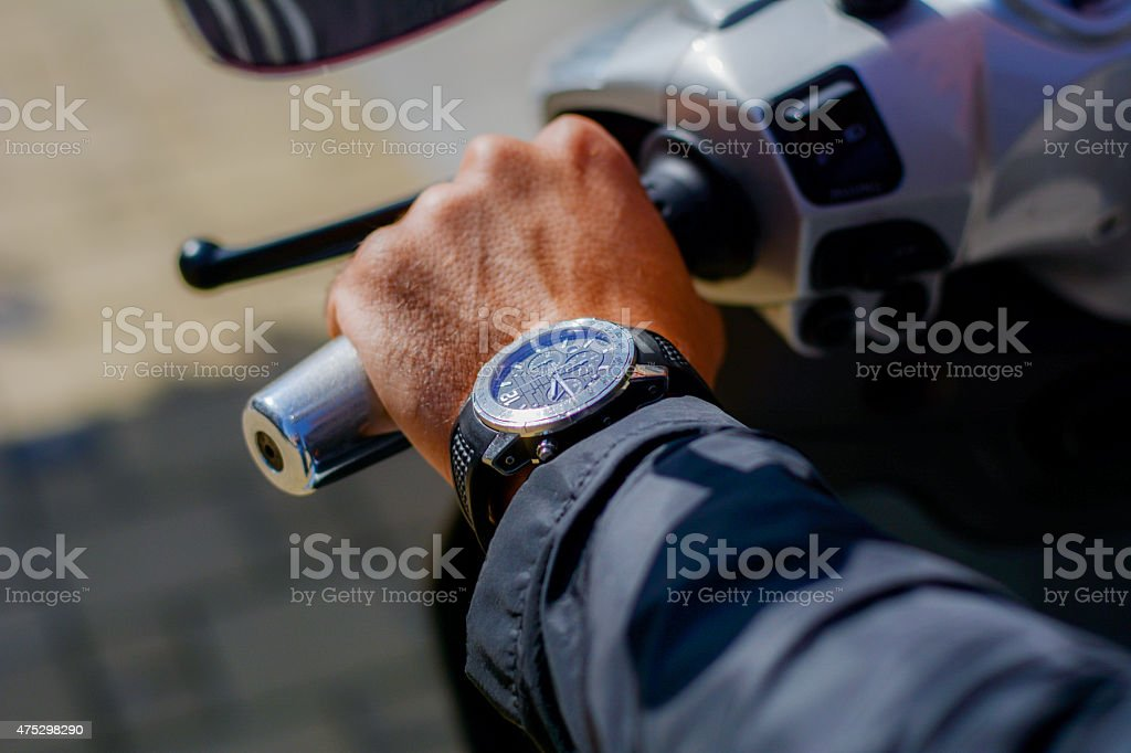 Man wearing a watch stock photo