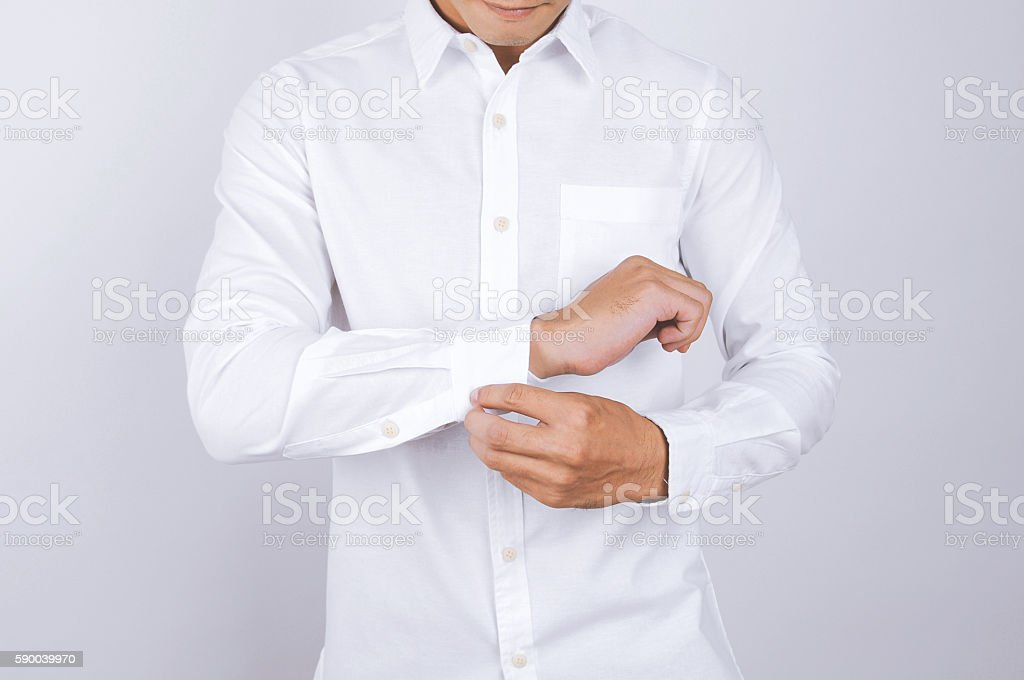 man wearing a white shirt. White background stock photo