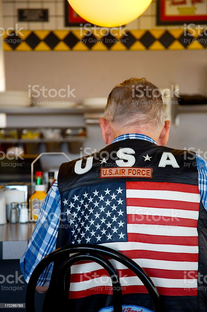 Man Wearing Air Force Vest stock photo