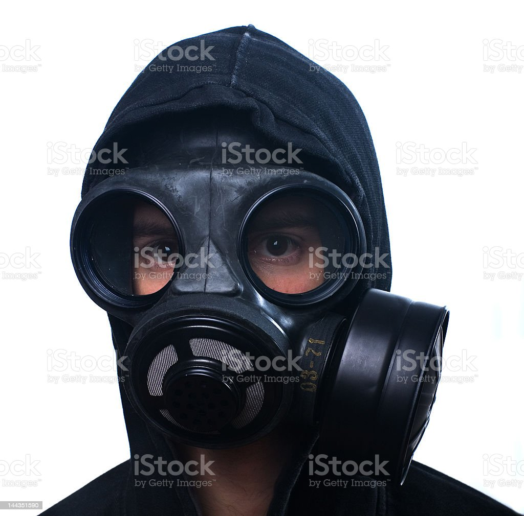 Man wearing an anti-gas mask royalty-free stock photo