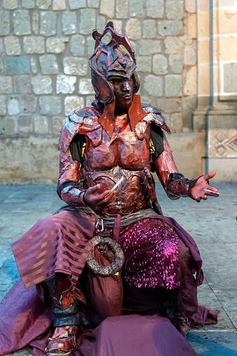 Man Wearing an Aztec Costume at the Día de los Muertos Festival in Oaxaca