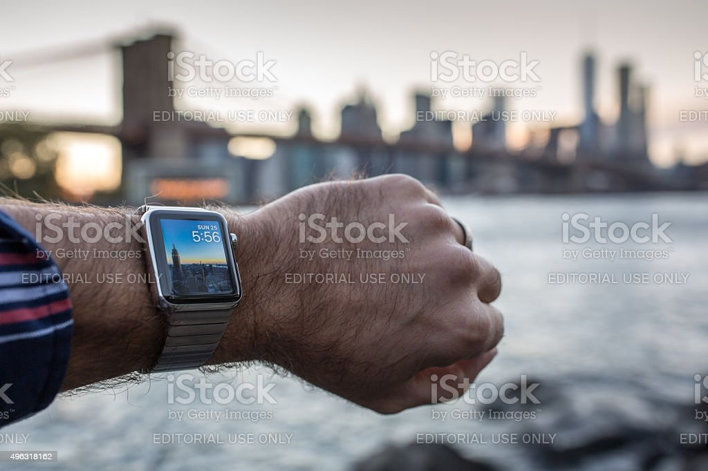 Man Wearing Apple Watch in New York City stock photo