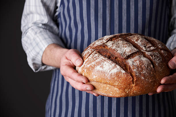 Man Wearing Apron Holding Freshly Baked Loaf Of Bread stock photo