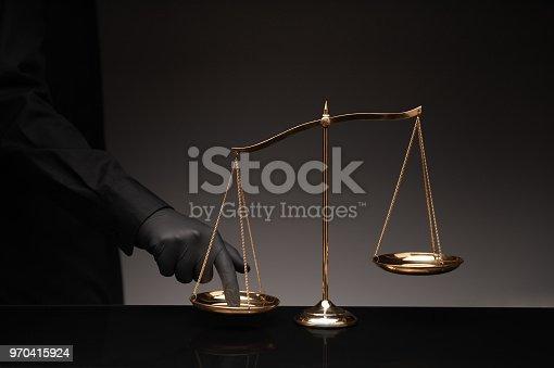 824305956 istock photo Man wearing black shirt pressing the imbalance 970415924