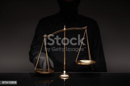 824305956 istock photo Man wearing black shirt pressing the imbalance scale 970415926