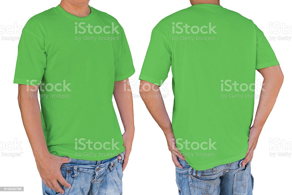 Man wearing blank apple green color t-shirt with clipping path, stock photo